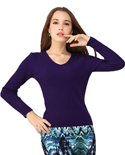 Miuk Women's 100% Cashmere Long Sleeve Sweater V Neck Basic Rib Style