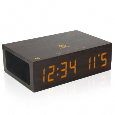 GOgroove TYM Bluetooth Wireless Stereo Speaker & Digital Alarm Clock with NFC Tap-to-Pair , Universa