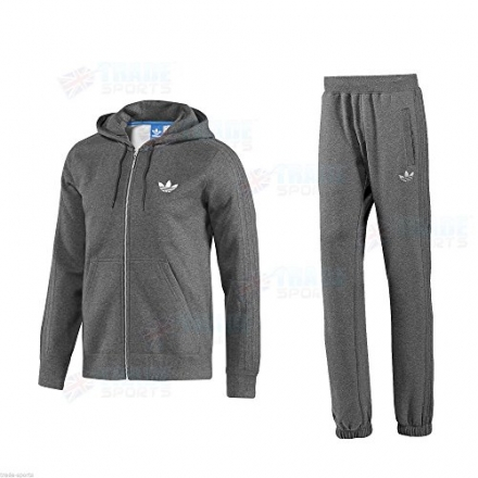 ADIDAS ORIGINAL SPO MENS LIGHT GREY CHARCOAL BLACK SIZE S M L XL FULL TRACKSUIT FLEECE WARM TRACKSUI