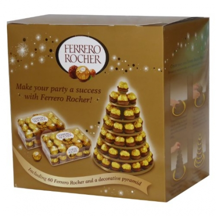 Ferrero Rocher 60 Piece Decorative Pyramid (1 x 750g)