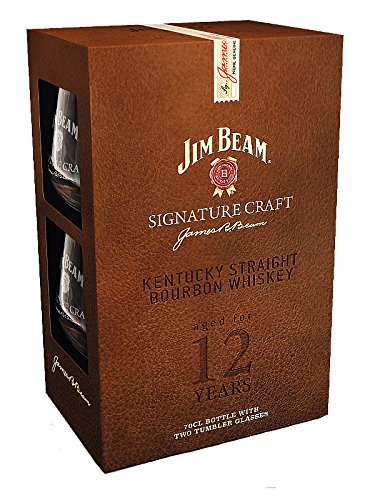 Jim Beam Signature Craft 12 Whiskey 70cl in gift pack with 2 glasses LIMITED EDITION