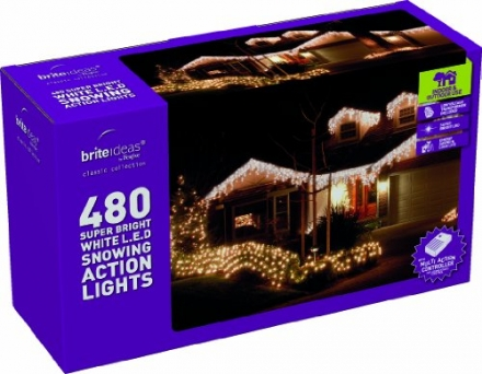 Festive 480 Snowing Icicle LED Lights with Snowing Controller, White