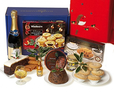 Christmas pudding gift with all the delicious extras – Christmas hamper with sparkling white wine, c