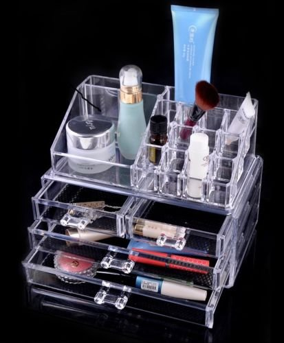 Beauty cosmetic MAKEUP jewellery acrylic clear storage ORGANISER box case gift