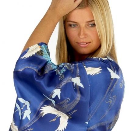 Ladies Silk Kimono 'Crane Swirl' – Royal