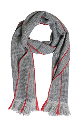 100% Peruvian Baby Alpaca Scarf by Sophie Allport – Light Grey & Red (40x180cm)