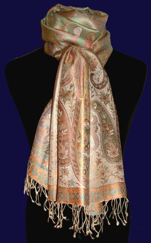 Lorenzo Cana Authentic Scarf Pashmina 100% pure Silk Paisley Orange Turquoise 78010