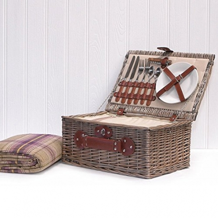 Luxury 2 Person Chiller Picnic Hamper Basket with Accessories – Christmas Xmas Wedding Anniversary E