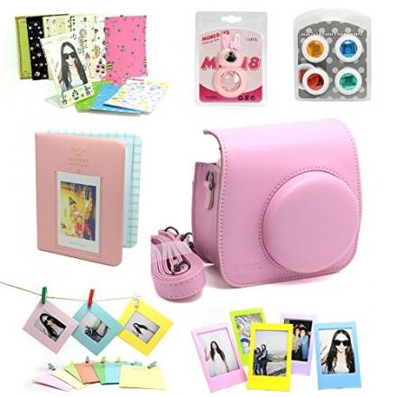 Fujifilm Instax Mini 8 Instant Camera Accessory Bundles Set (Included: Pink Mini 8 Vintage Case Bag/