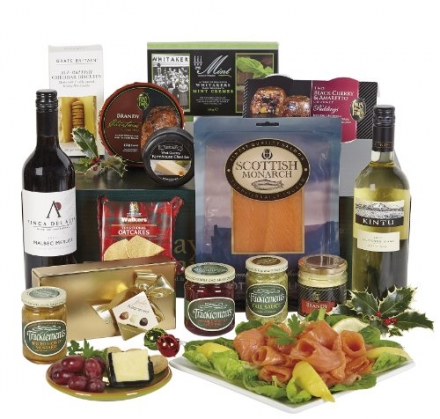 Christmas day wine and food hamper in gift box – white wine, smoked salmon, cheese, Christmas puddin