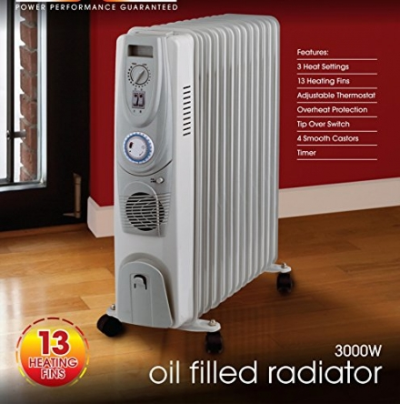 3KW PORTABLE ELECTRIC OIL FILLED RADIATOR HEATER WITH ADJUSTABLE THERMOSTAT AND A TIMER – 300W 3 HEA