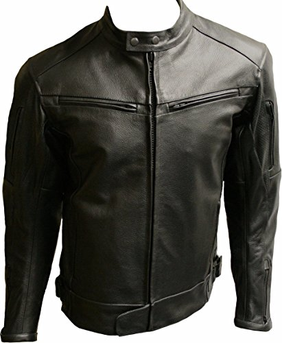Mens Black Leather Cowhide CE Armoured Motorcycle Jacket – SALOU