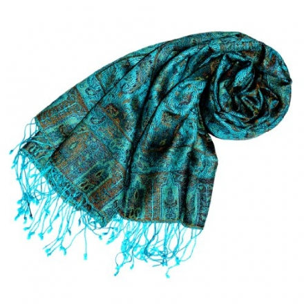 LORENZO CANA – Womens High-End Silk Wool Scarf Pashmina Blue Turquoise Paisley 29 x 75 inches – 7804