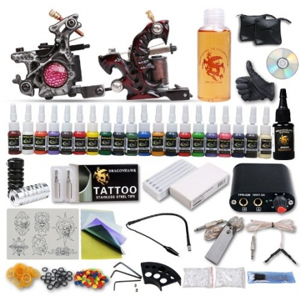 Generic Professional Tattoo Kit 2 Top Machines 20 Color Inks Power free gift DIY-248UKYMX