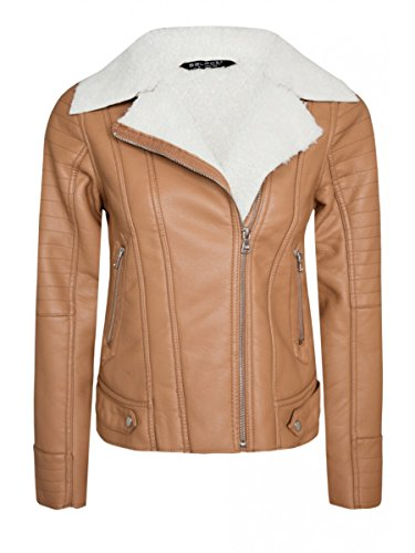 Womens Tan Bonded Pu Jacket Ladies