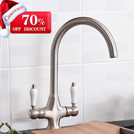 VAPSINT® Christmas Gifts-70% Off Discount!!!Solid and Heavy Brushed Steel Kitchen Sink Mixer Tap,
