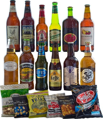 12 Mixed Lager, Ale and Cider with Bar Snacks Hamper